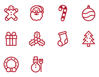 Free Christmas SVG Outline Flat Icons