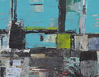Three abstract paintings