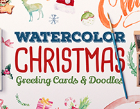 Watercolor Christmas Greeting Cards & Doodles