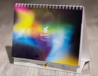 Color calendar with icon-stickers for 2015