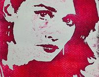 Portrait in woodcut
