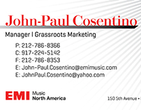 John-Paul Cosentino, Manager at EMI Music Business Card