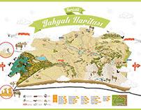 Türkiye Kayseri/Yahyalı Touristic Map İllustration
