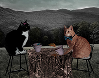 Digital Art | Cat Tea Party