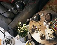 оформление кухонной и гостиной зоны