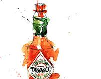 Watercolor bottles: splashes