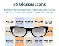 35 vector glasses icons