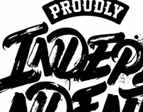 """PROUDLY INDEPENDENT"" logo for Macro Beats djs"