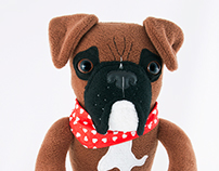 Boxer Dogs, soft art toys