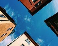 · buildings looking up ·