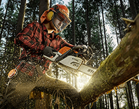 Stihl chainsaw photoshoot + behind the scenes