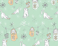 Kittens in Mittens - hand drawn christmas gift wrap :D