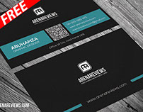 Professional Minimal Blue & Black Business Card (FREE)