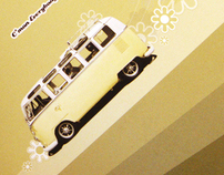 'Get On The Love Bus' wedding invitation