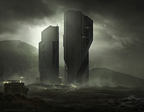 Dark sci-fi city
