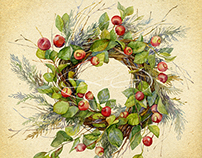 Wreath of twigs with apples