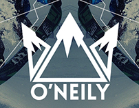 O'Neily snowboard equipment, branding and ads