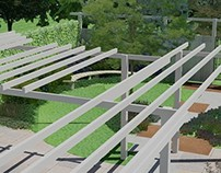 Shadow lounge in a modern garden