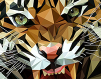 Low Polygon Animals - Harimau Malaya