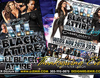 All Black Attire Thanksgiving Eve Party Flyer