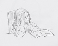 Sketch: Girl reading