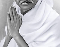 Mahatma Gandhi Digital Painting by Wayne Flint