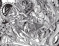Illustration Indonesian Culture (Wayang) and Graffiti