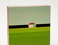 Landschaft mit Haus (print on wood blocks)