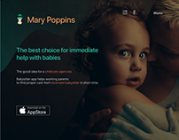 Landing page for babysitting service Mary Poppins