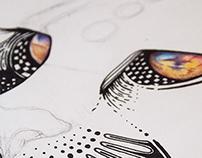 Lápices de color y estilógrafos sobre papel de algodón