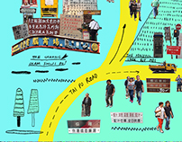 HK MAP - an illustration and photo collage