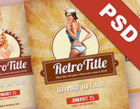 Retro Party Flyer / Poster  PSD