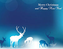 Free vector elegant blue Christmas background with rein