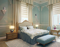 Bedroom in a light french classic style