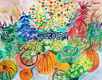 Watercolor autumn still life