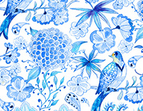Dewdrops - Chinoiserie-Chic Textile Design