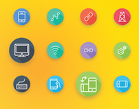 Communication and Network Flat Icons | iOS Line Icons