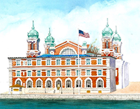 Ellis Island Watercolor