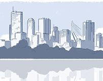 Tekening skyline Rotterdam