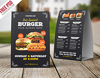 Freebie : Fast Food Menu Table Tent Template PSD