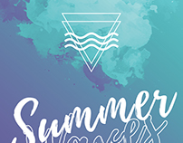 Summer waves party flyer artwork template