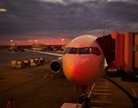 Passenger aircraft at the tarmac at dusk