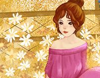 The girl in the flower garden