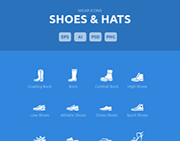 Wear Icons - Shoes & Hats Vector Pack
