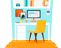 Office interior. Workplace