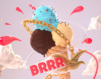 BRRR Ice cream (3D Compo / 3DS MAX - ZBRUSH - VRAY)