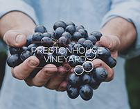 Prestonhouse Vineyards ad, packaging, & logo