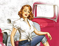 Flathead Cigars - Hotrod Girl illustration series