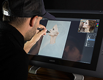 Wacom painting video tutorial on Cintiq 22hd touch