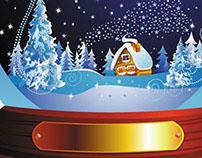 Beautiful Christmas Snow Globe with winter scene Vector